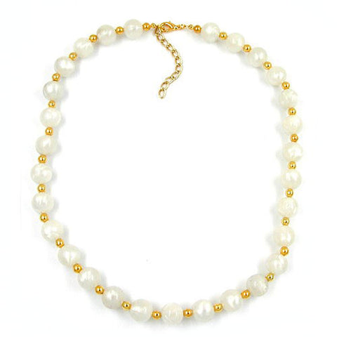 NECKLACE BEADS SILKY SHIMMERING WHITE