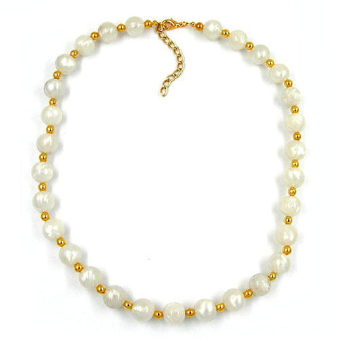 NECKLACE BEADS SILKY SHIMMERING WHITE/GOLD-PLATED