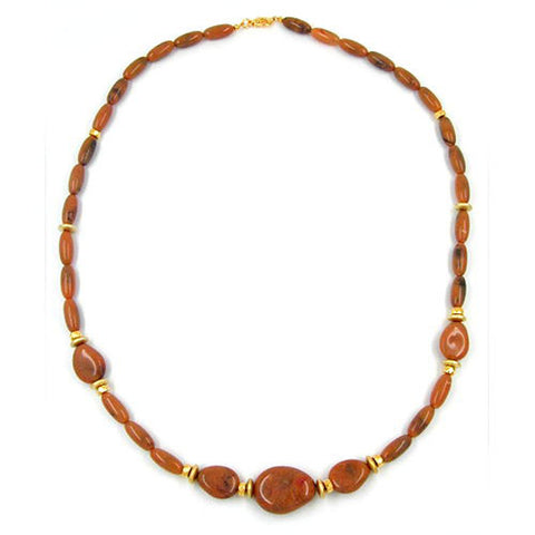 NECKLACE BEADS BROWN MARBLED