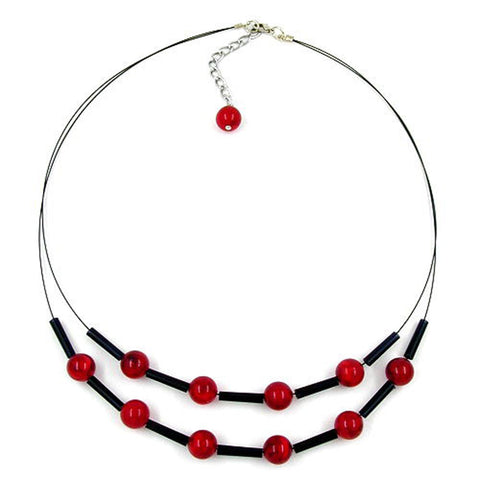 NECKLACE RED BLACK BEADS ON COATED FLEXIBLE WIRE