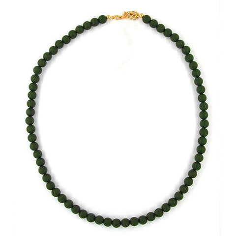 NECKLACE BEADS 8MM OLIVE GREEN