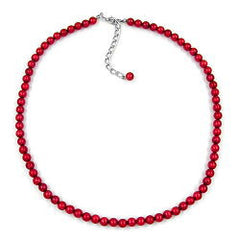NECKLACE BEADS 6MM SILKY/ WINE/ RED 40CM