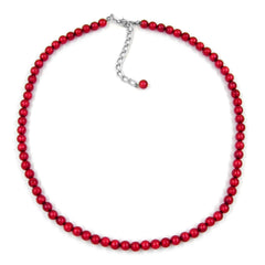 NECKLACE BEADS 6MM SILKY/ WINE/ RED