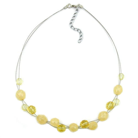 NECKLACE YELLOW GLASS BEADS ON COATED FLEXIBLE WIRE