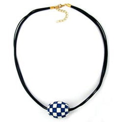 NECKLACE OLIVE IVORY-BLUE & GOLD 50CM