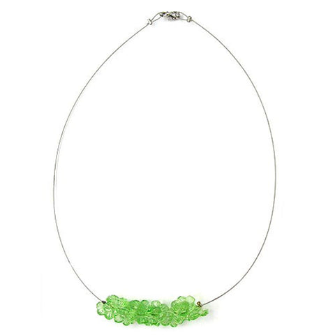NECKLACE FLOWER BEADS GREEN TRANSPARENT