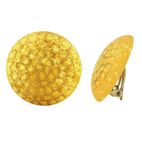 CLIP-ON EARRING ROUND YELLOW CHEQUER PATTERNED MATTE 30MM