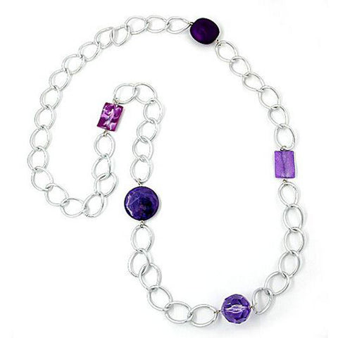 NECKLACE WIDE CURB CHAIN LILAC PEARL 100CM