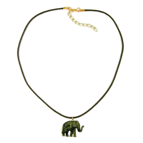 NECKLACE SMALL ELEPHANT PENDANT OLIVE GREEN MARBLED
