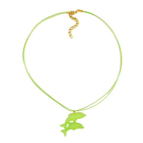 NECKLACE DOLPHIN LIGHT GREEN MATTE 45MM