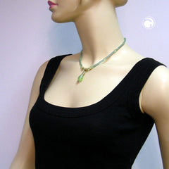 NECKLACE GLASSBEADS LIGHT-GREEN 42CM
