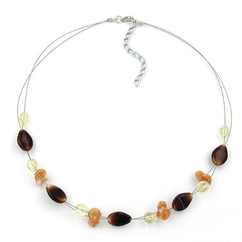 NECKLACE GLASS BEADS BROWN 44CM
