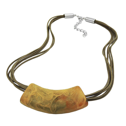 NECKLACE TUBE FLAT CURVED YELLOW-OLIVE 45CM