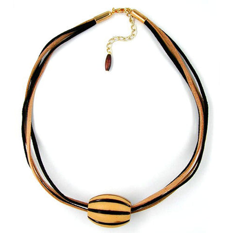 NECKLACE BEADS LIGHT-BROWN & BROWN 50CM