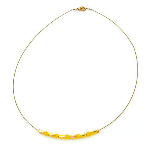 NECKLACE GLASS BEADS YELLOW MIRRORED
