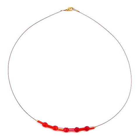 NECKLACE GLASS BEADS RED