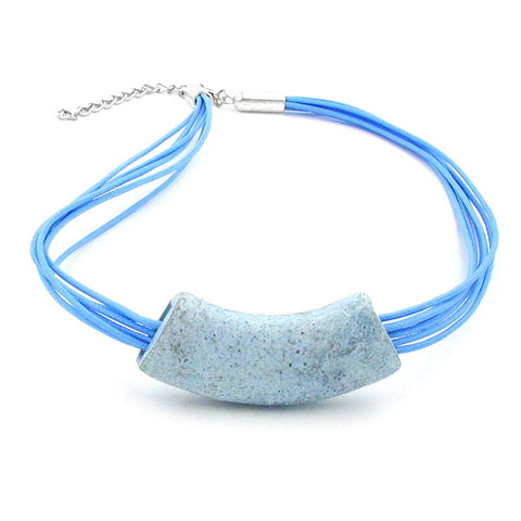 NECKLACE TUBE FLAT CURVED JEANS-BLUE 50CM