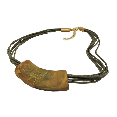 NECKLACE TUBE FLAT CURVED GREEN-OLIVE 45CM