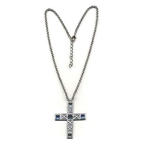 NECKLACE CROSS SILVER COLOURED/ BLUE
