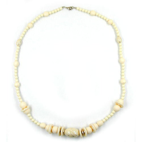 NECKLACE BEADS CREME SILVER-TONE 70CM