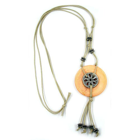 NECKLACE DISC PENDANT APRICOT MARBLED