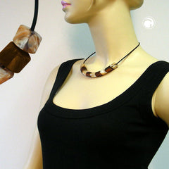 NECKLACE BROWN BEADS 45CM