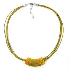 NECKLACE TUBE FLAT-CURVED YELLOW-OLIVE 50CM