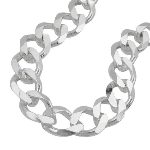 BRACELET OPEN CURB CHAIN 11MM SILVER 925 23CM