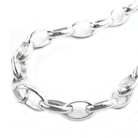 BRACELET OVAL ANCHOR CHAIN SILVER 925 19CM