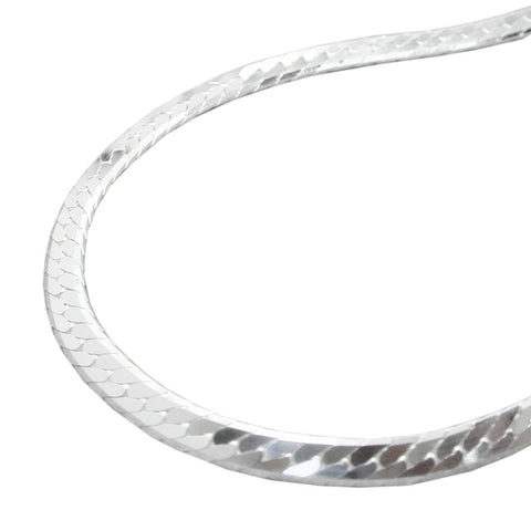 NECKLACE FLATTENED CURB CHAIN SILVER 925 45CM
