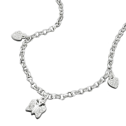 NECKLACE HEARTS AND BUTTERFLY SILVER 925
