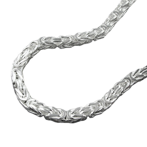 NECKLACE BYZANTINE CHAIN 3MM SQUARE SILVER 925 45CM