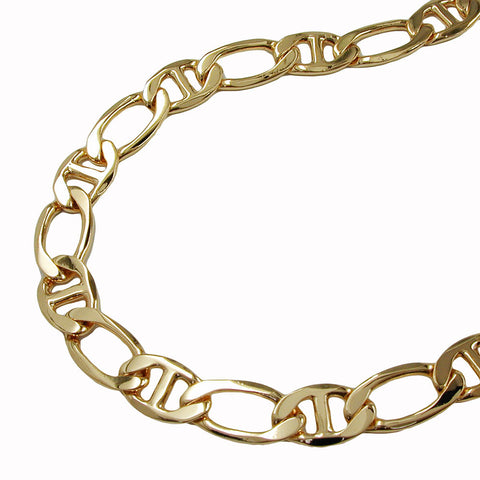 BRACELET MARINER CHAIN DIAMOND CUT GOLD PLATED 21CM