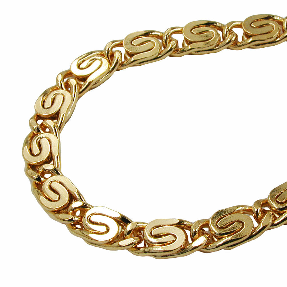 BRACELET SCROLL CHAIN 5MM GOLD PLATED