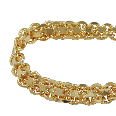 BRACELET BISMARK CHAIN 6MM GOLD PLATED