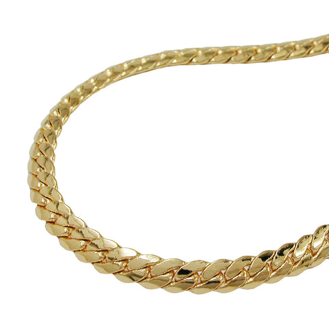NECKLACE FLAT CURB CHAIN 3MM GOLD PLATED
