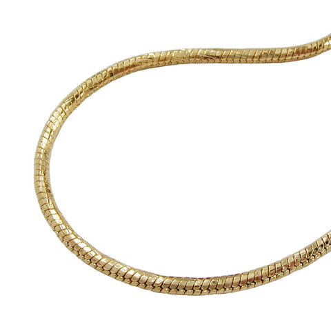 NECKLACE ROUND SNAKE CHAIN GOLD PLATED 50CM