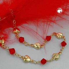BRACELET RED BEADS GOLD PLATED 19CM
