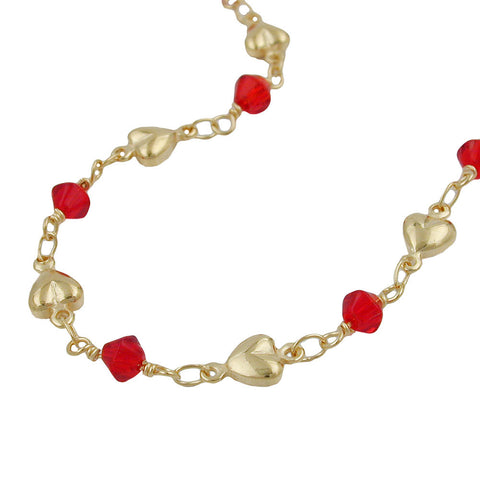 BRACELET RED BEADS GOLD PLATED