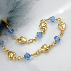 BRACELET AQUA BLUE BEADS GOLD PLATED 19CM