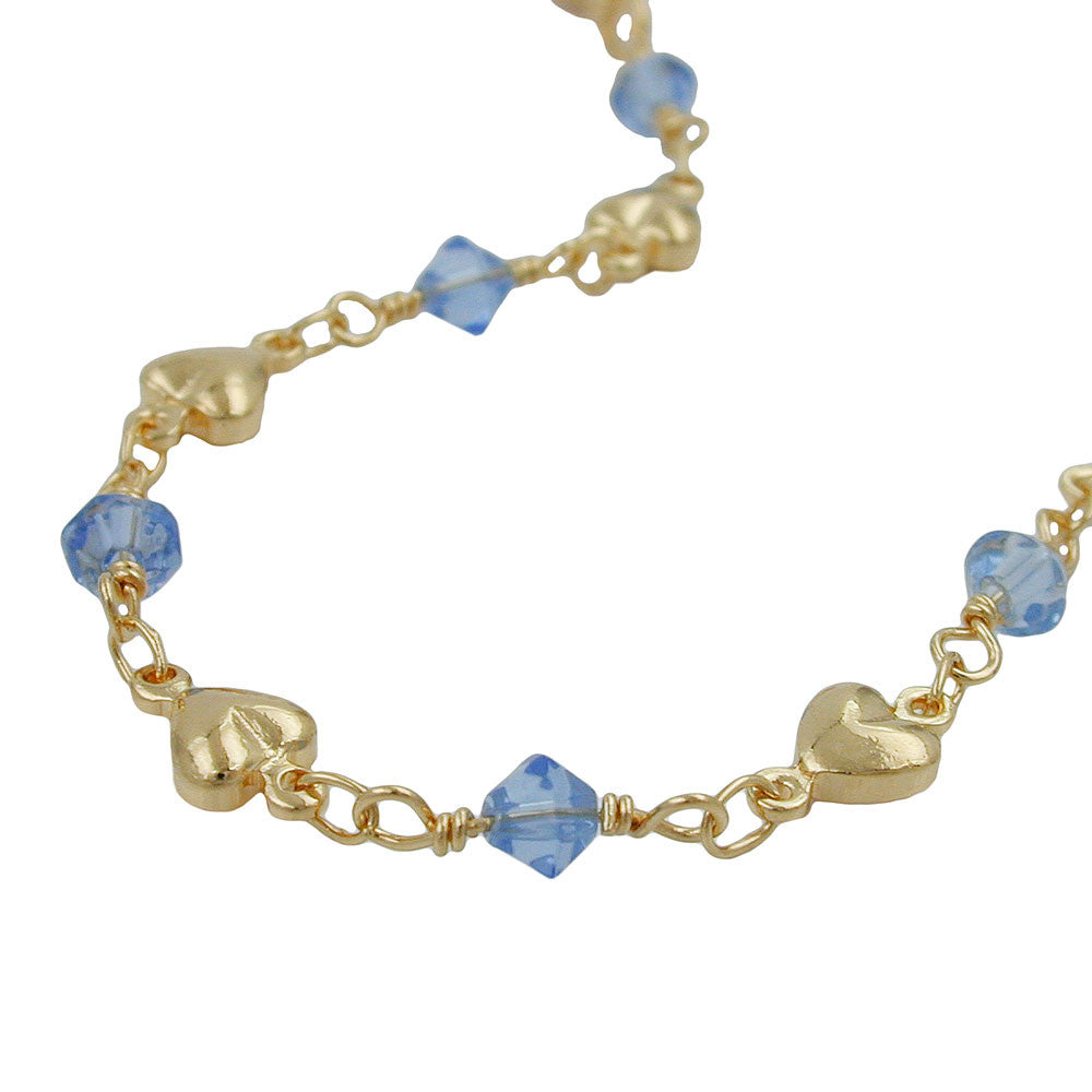 BRACELET AQUA BLUE BEADS GOLD PLATED