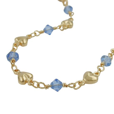 NECKLACE AQUA BLUE BEADS GOLD PLATED