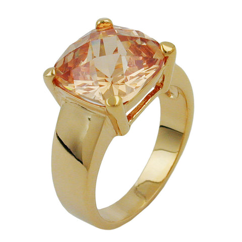 RING LARGE CUBIC ZIRCONIA GOLD PLATED 3 MICRON