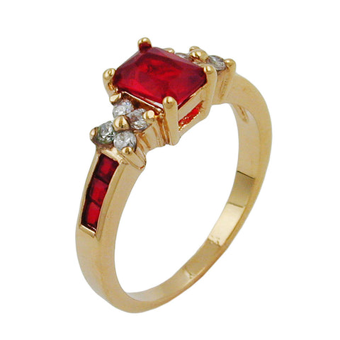RING WITH CUBIC ZIRCONIA GOLD PLATED 3 MICRON