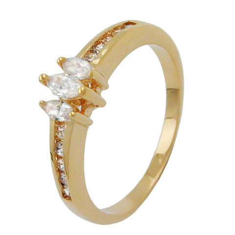 RING CUBIC ZIRCONIA GOLD PLATED 3 MICRON