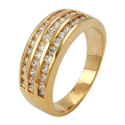 RING WITH ZIRCONIA THREE ROWS GOLD PLATED 3 MICRON