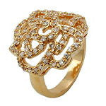 RING WITH ZIRCONIA ROSE GOLD PLATED 3 MICRON RING SIZE 62