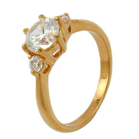 RING WITH ZIRCONIA GOLD PLATED 3 MICRON