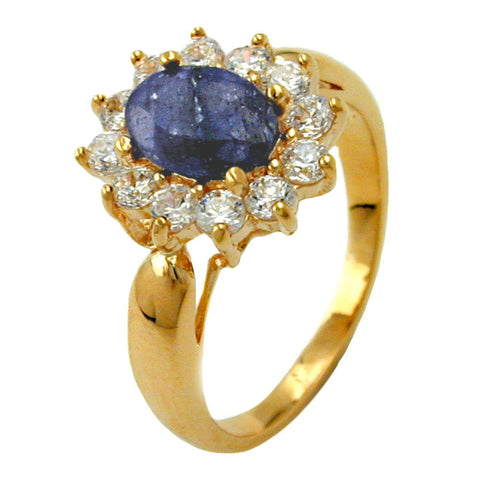 RING LAPIS LAZULI STONE GOLD PLATED 3 MICRON