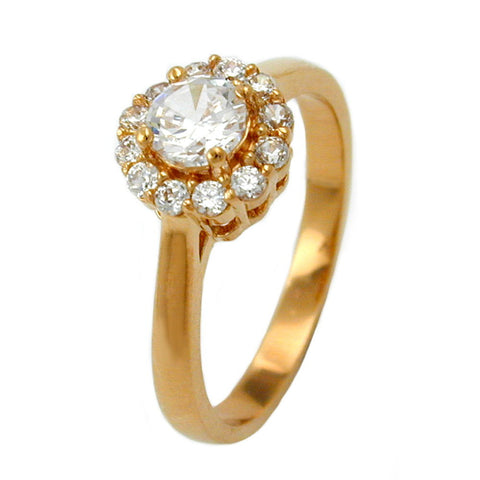 RING WITH ZIRCONIA FLOWER GOLD PLATED 3 MICRON